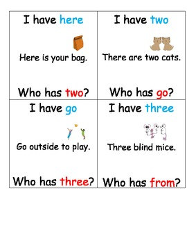 I have who has sight words Units 3 and 4 Reading Streets