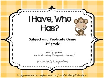 I have, who has, subject predicate game
