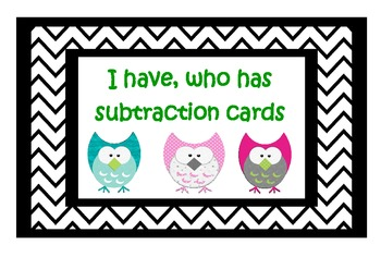 I have, who has subtraction cards 1- 100
