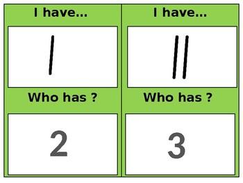 I have , who has tally marks