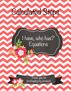 I have who has task cards - Equations