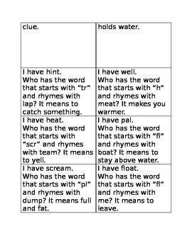 I have who has vocabulary development game one