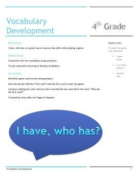 I have, who has...4th grade vocabulary