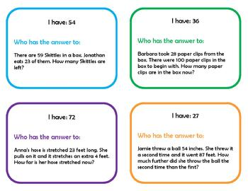 I have, who has...high number story problems (CCSS 2.OA.1)