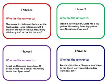 I have, who has...low number story problems (CCSS 2.OA.1)