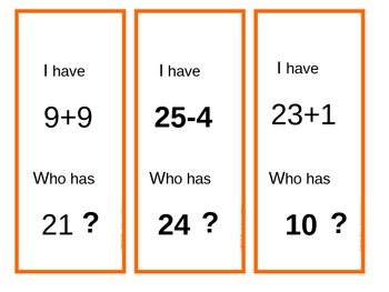 I have...Who Has? Addition and Subtraction (0- 25)