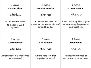 I have...Who Has? Science Lab and Measurement Tools (editable)