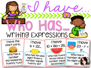 I have...Who Has...Writing Expressions with Variables COMMON CORE ALIGNED 5.OA.2