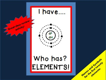 "CHEMISTRY    ""I have...Who has?""    ELEMENTS of the PERIODIC TABLE"