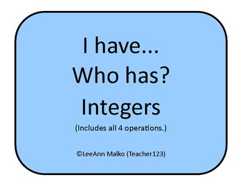 I have...Who has?  Integers