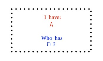 I have/Who has - Letters/Sounds