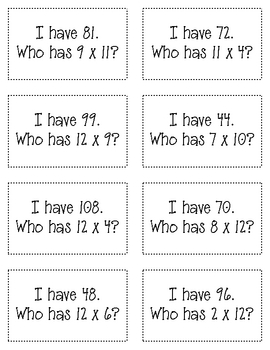 I have...Who has Multiplication Facts Game