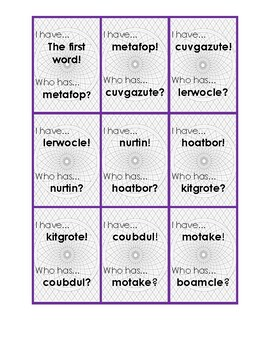 I have...Who has? (Multisyllabic Nonsense Words)