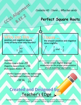 I have...Who has? Perfect Square Roots (40 card set)