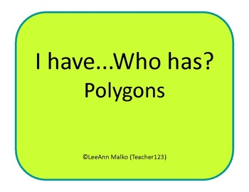 I have...Who has?  Polygons