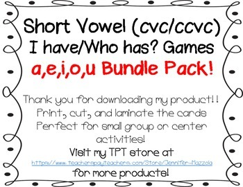 I have/Who has Short Vowel Bundle Pack!