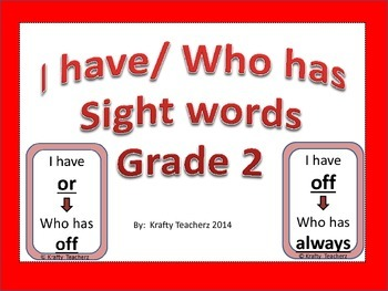 I have/Who has Sight words game grade 2
