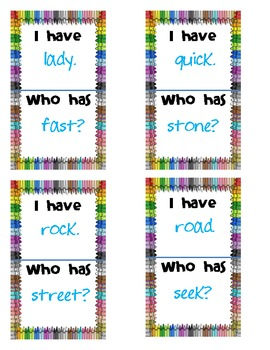 I have...Who has? Synonyms Practice