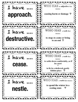 I have...Who has? Wordly Wise 3 Vocabulary Game