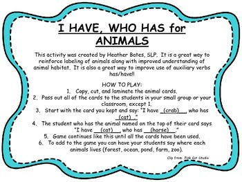 """""""I have...Who has..."""" for animals"""