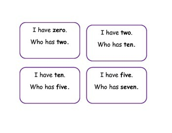 I have...Who has for numbers 1-12