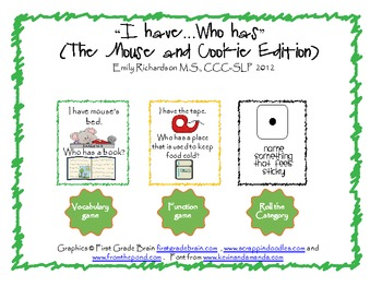 """""""I have…Who has"""" vocabulary,function,category game(The Mouse and Cookie Edition)"""