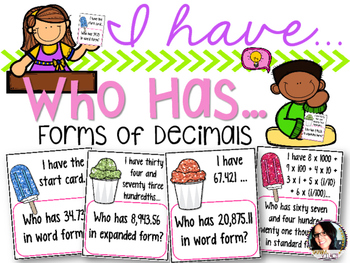 I have..Who has...Expanded, Word, and Standard Form of Decimals 5.NBT.3
