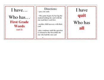 I have...Who has...Sight Word Practice