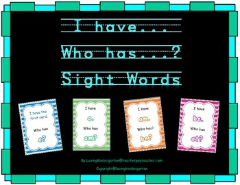 I have...Who has...Sight Words for kindergarten and grade 1
