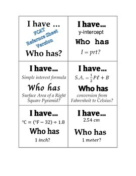 I have...who has? Familiarizing Yourself with Formulas (Previously used w/ FCAT)