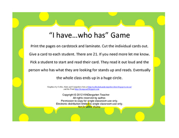 I have...who has? Frog CVC Game