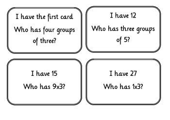 I have...who has... Loop game for multiplication x3