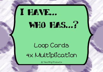 I have...who has... Loop game for multiplication x4