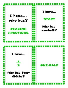 I have...who has? Reading Fractions