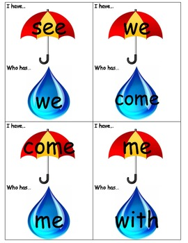 I have...who has? Sight Words Game