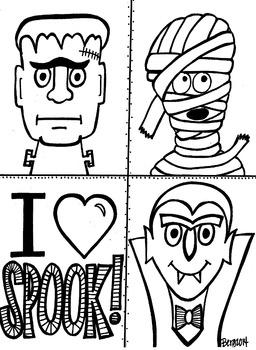 I heart SPOOK coloring sheet