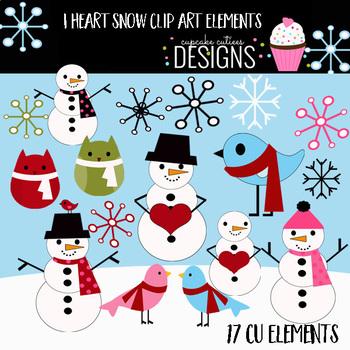 I heart Snow Digital Clip Art Elements