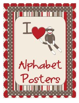 Sock Monkey Classroom Decor - Alphabet Posters