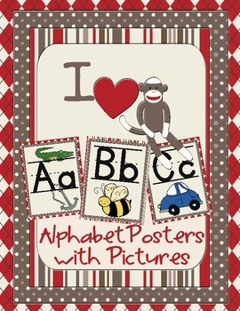 Sock Monkey Classroom Decor - Alphabet Posters with Pictures