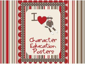 Sock Monkey Classroom Decor - Character Education Posters