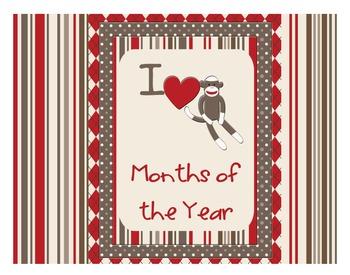 Sock Monkey Classroom Decor - Months of the Year - Calendar