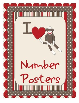 Sock Monkey Classroom Decor - Number Posters