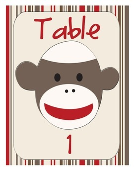 Sock Monkey Classroom Decor - Table or Group Signs