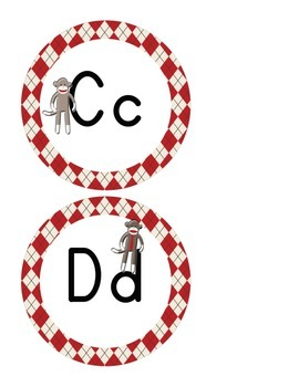Sock Monkey Classroom Decor - Alphabet Cards - Word Wall