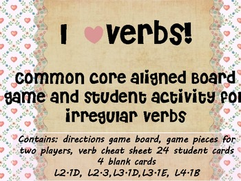 I heart verbs a board game for verb tenses