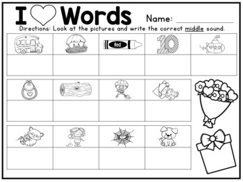 I heart words! CVC Word and Picture Matching