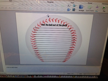 """""""I hit the ball out of the park"""" Lined Paper"""