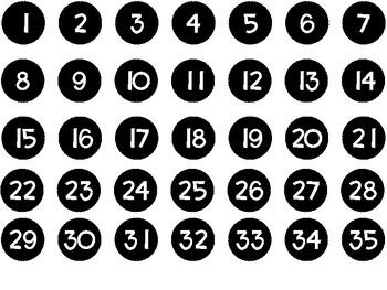 I-inch Circles with Numbers