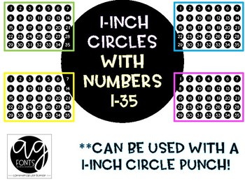 I-inch Black Circles with Numbers 1-35