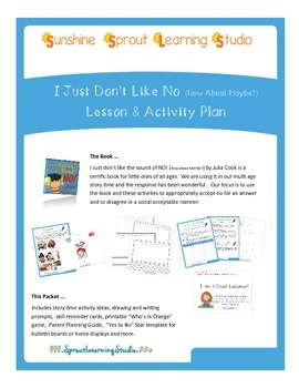 """""""I just Don't Like the Sound of No"""" Story Time Activity Bundle"""